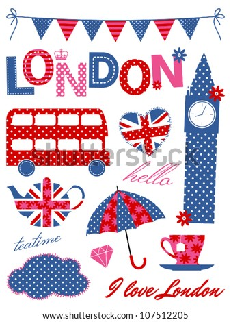 London scrapbook elements in blue, red and pink.