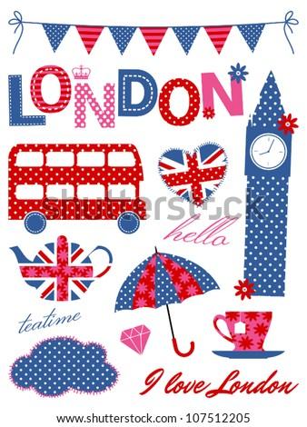 london scrapbook elements in