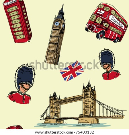 London seamless pattern - stock vector