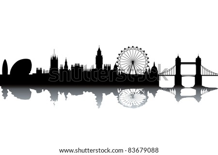 London skyline - black and white vector illustration