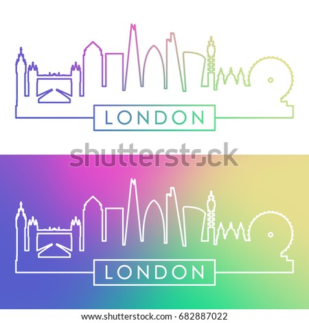 london skyline colorful linear