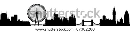 London Skyline Detailed Silhouette Vector Illustration