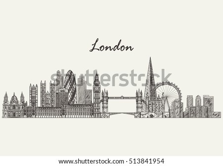 london skyline hand drawn