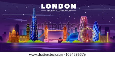 london skyline nightvector