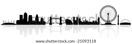 London skyline silhouette isolated on a white background with reflections