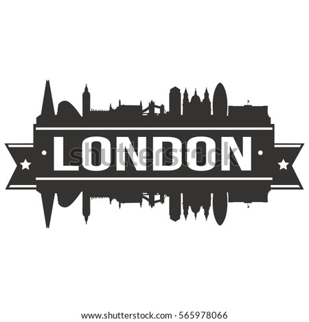 london skyline stamp silhouette