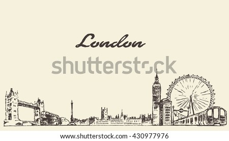 london skyline  vintage vector...