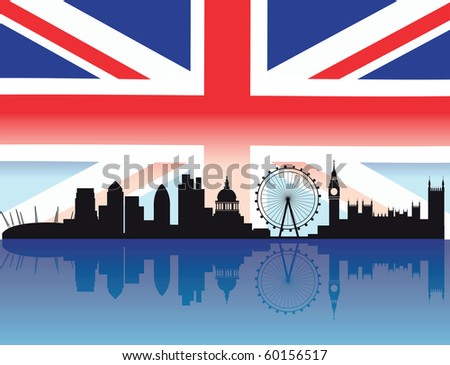 London skyline with flag and reflection of buildings in the thames