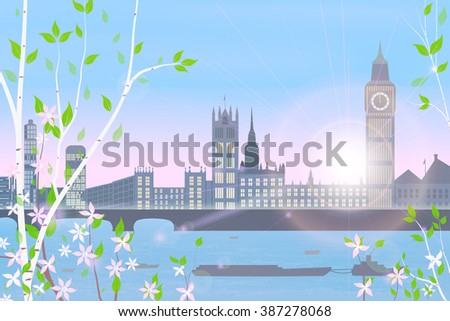 london  spring  cityscape on