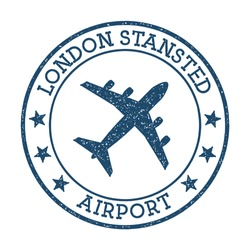 London Stansted Airport logo. Airport stamp vector illustration. London aerodrome.