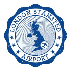 London Stansted Airport stamp. Airport of London round logo with location on United Kingdom map marked by airplane. Vector illustration.