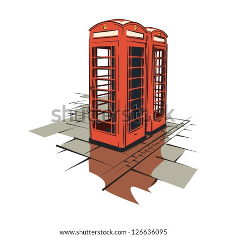 London telephone booth illustration - layered graphic elements for flexible use