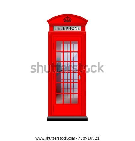 London telephone boothisolated on white background. Vector illustration