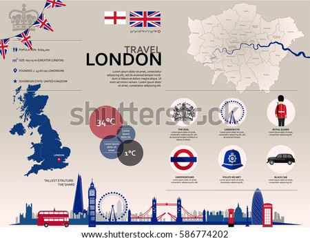 london travel infographic set