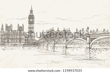 London, UK. Houses of Parliament with Big Ben, Westminster Palace, bridge on river Thames. Sights of England. Architectural monuments. Travel. Postcards. Vector illustration. Vintage. Engraving