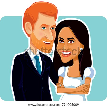 London, UK, 15 January, Meghan Markle and Prince Harry Vector Caricature