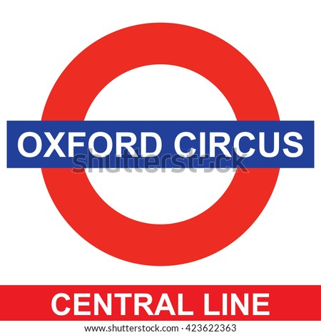 LONDON; UK - MAY 20; 2016: Metro station sign Oxford Circus on the Central line in London; UK; MAY 20; 2016;