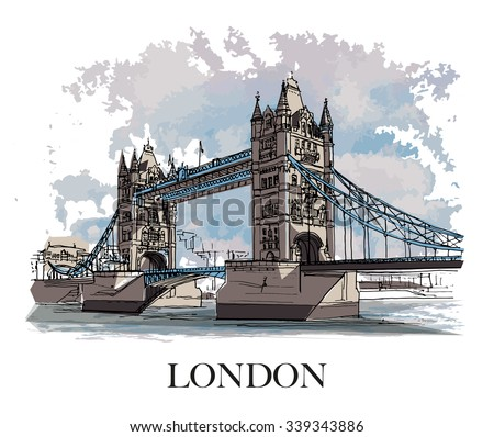 london  uk   tower bridge hand