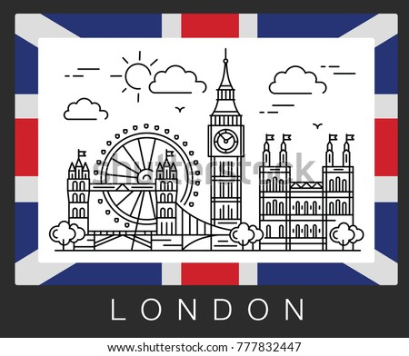 London, United Kingdom. City attractions and the flag of UK