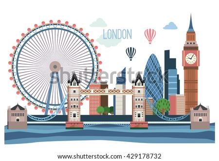 london vector flat  landscape