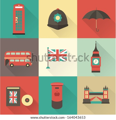 london vintage icons vectors