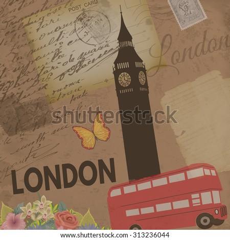 london vintage poster on...