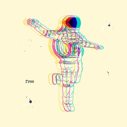 Lonely astronaut. Glitch effect. Silhouette of cosmonaut in spacesuit