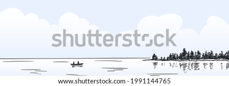 lonely boat with two person on
