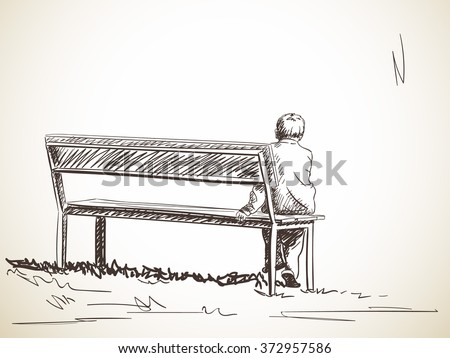 lonely boy sitting on bench