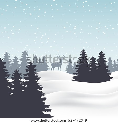 lonely deer in snowbound forest