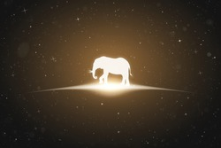Lonely elephant in space. Vector conceptual illustration with white silhouette of endangered animal and glowing outline. Surreal yellow background for greeting cards, posters and other design