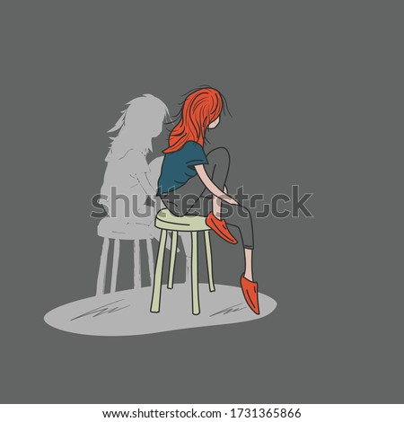 lonely girl sitting isolated in