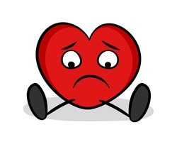 Lonely heart is sad and unhappy because of unrequited love, being single, breakup., romantic loneliness. Romance, affection and negative emotion and feeling. Vector illustration isolated on white.