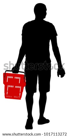 Lonely man doing everyday grocery shopping with shopping basket at supermarket, vector silhouette isolated on white background. Male usual walk after work with consumer bag buy food and another goods.