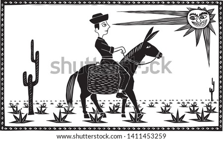 Lonely man in the desert riding