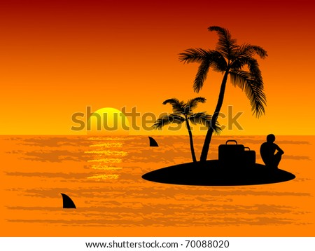 Lonely man on tropical island