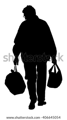 lonely man with shopping bags