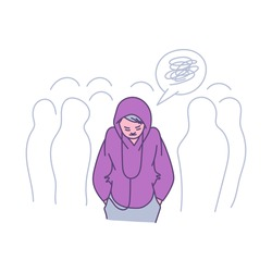 Lonely person in a crowd - cartoon teenager feeling alone among people. Sad depressed woman looking down wearing a hoodie and listening to music, flat isolated vector illustraiton