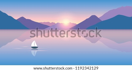 lonely sailboat on a calm sea