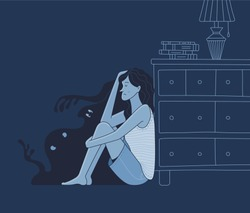 Lonely scared young woman sitting on floor near chest of drawer and silhouettes of angry shadow monsters in dark room. Cartoon phobia and psychotherapy concept. Vector flat frightened female character