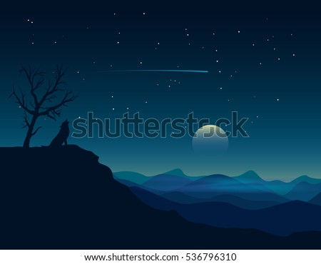lonely wolf on a landscape blue