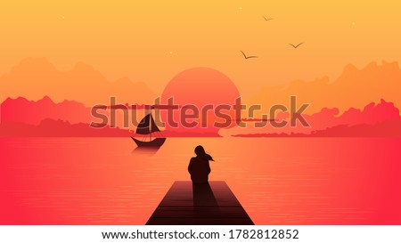 lonely woman silhouette on