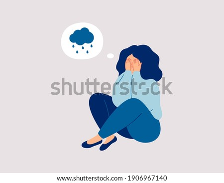 Lonely young girl sitting on floor and cover her face with arms. Sad child is crying.  Female character feels depression, sorrow, grief. Concept of mental disorder or illness. Vector illustration ストックフォト ©