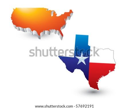 lonestar state orange united states icon - stock vector