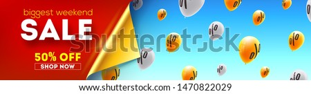 Long banner with biggest weekend Sale. Special discount and offer. Yellow balloons flying in blue sky with sign of percent. Vector 3d illustration. Design for discounts actions in shop and markets.