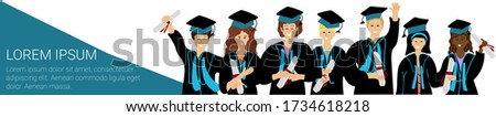 long banner with happy graduate