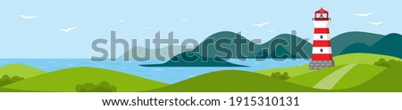 Long banner with seascape. Lighthouse on seashore with mountains on background and seagulls in the sky. Flat vector illustration. Coastline landscape with beacon.