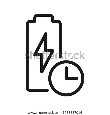 Long Battery Life Icon. Stroke outline style. Line vector. Isolate on white background.