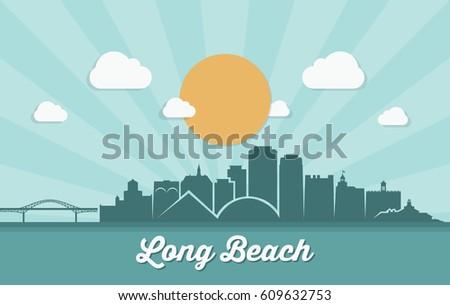 long beach skyline   california