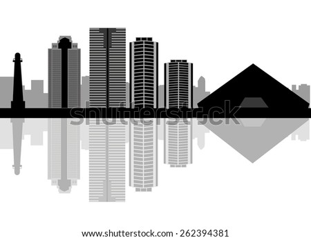long beach skyline in editable
